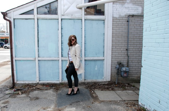 style blog leather skinnies trench coat stripes style blogger 2