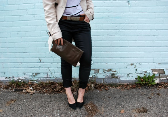 style blog leather skinnies trench coat stripes style blogger 5