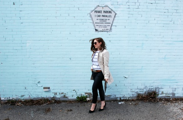style blog leather skinnies trench coat stripes style blogger 6
