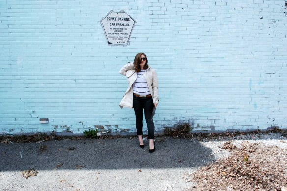 style blog leather skinnies trench coat stripes styler blogger 9