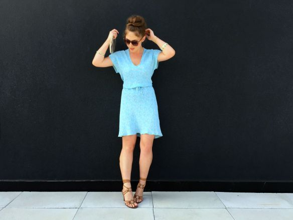 toronto style blogger blue sundress lace up sandals 4