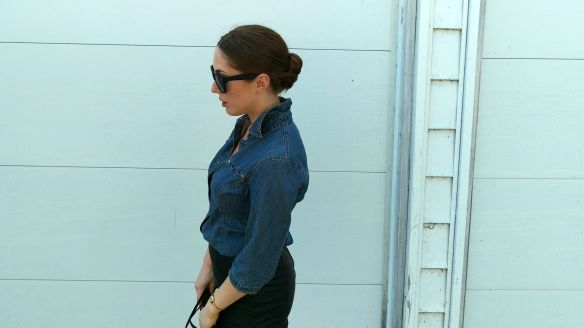 toronto style blogger vintage ck jeans denim chambray shirt 11